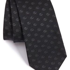 Gucci Accessories - GUCCI Running Logo Silk Jacquard Tie